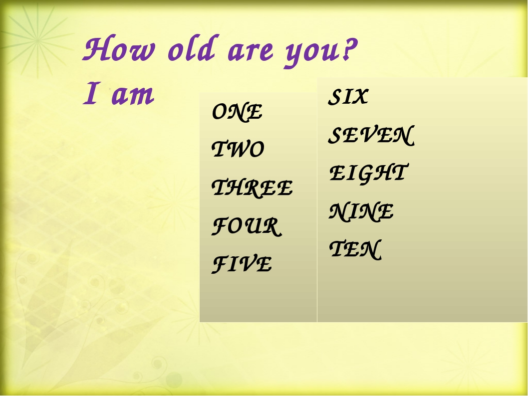 How old are you? I am ONE TWO THREE FOUR FIVE SIX SEVEN EIGHT NINE TEN