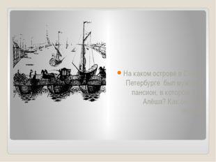 На каком острове в Санкт-Петербурге был мужской пансион, в котором жил Алёша?