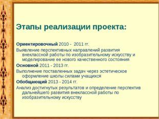 Этапы реализации проекта: Ориентировочный 2010 - 2011 гг. Выявление перспект