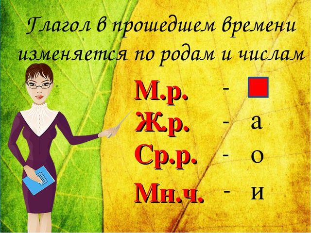 Глагол в прошедшем времени изменяется по родам и числам М.р. - о Ср.р. а Ж.р....