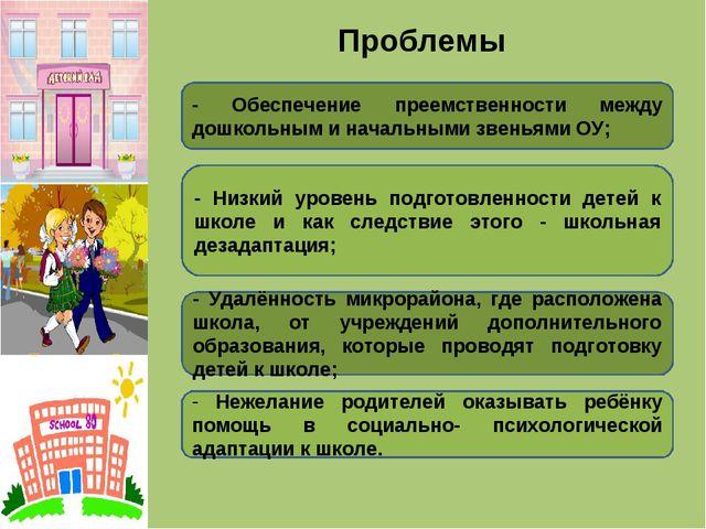 Проблемы - Обеспечение преемственности между дошкольным и начальными звеньями...