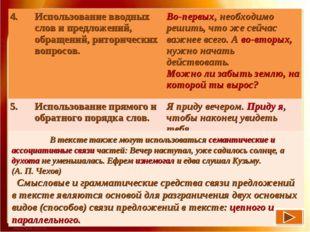 В тексте также могут использоваться семантические и ассоциативные свя