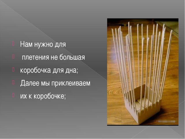 Нам нужно для плетения не большая коробочка для дна; Далее мы приклеиваем их...