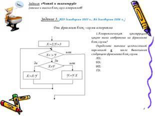 Задание 3. (А29 демоверсии 2005 г., А6 демоверсии 2006 г..) Дан фрагмент бло