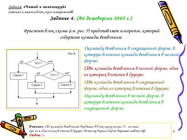 Задание 4. (А6 демоверсии 2005 г.) Фрагмент блок-схемы (см. рис. 9) представл...