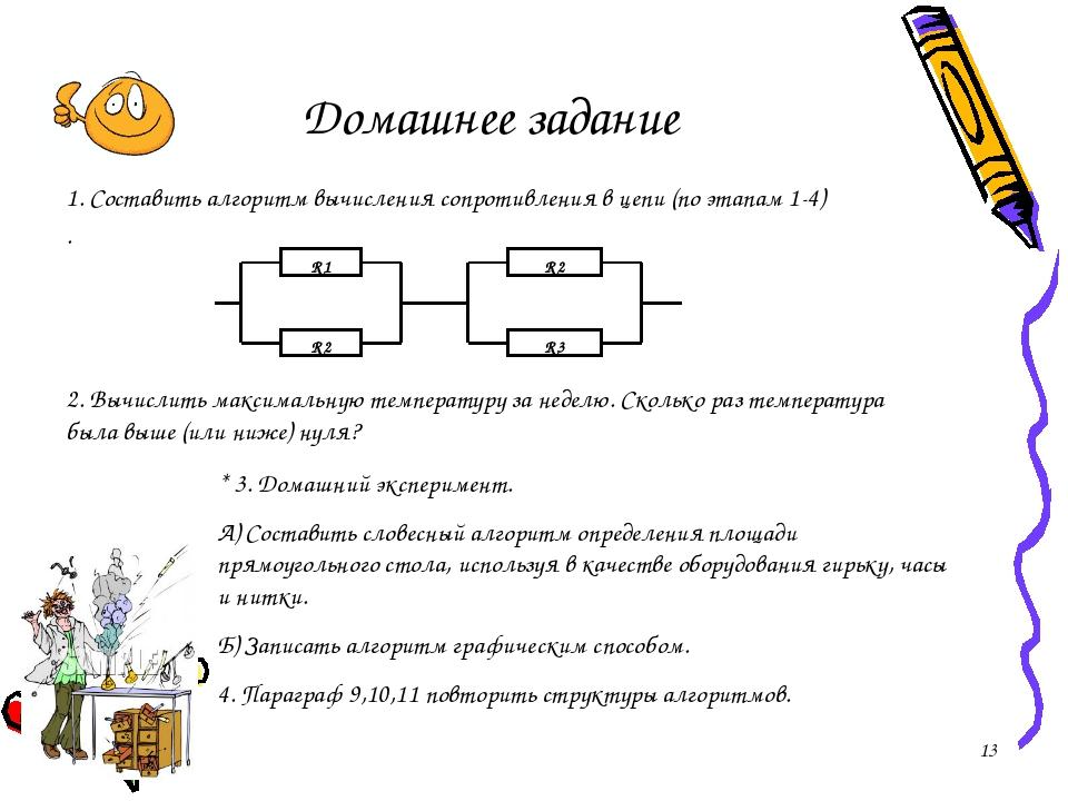 Домашнее задание 1. Составить алгоритм вычисления сопротивления в цепи (по эт...