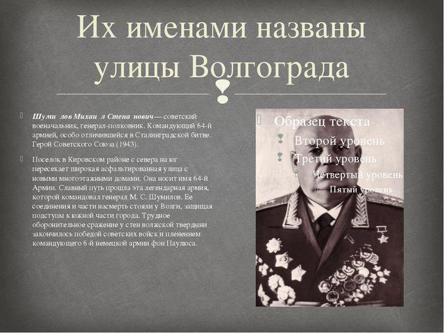 Их именами названы улицы Волгограда Шуми́лов Михаи́л Степа́нович— советский в...