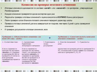 Комиссия по проверке итогового сочинения Итоговые сочинения оцениваются по си