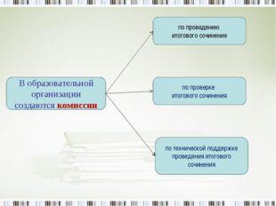 В образовательной организации создаются комиссии по проведению итогового сочи