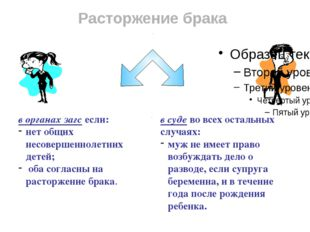 Расторжение брака в органах загс если: нет общих несовершеннолетних детей; об
