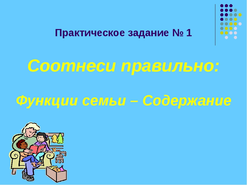 Практическое задание № 1 Соотнеси правильно: Функции семьи – Содержание