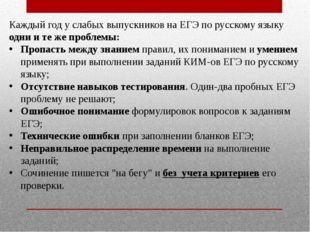 Каждый год у слабых выпускников на ЕГЭ по русскому языку одни и те же проблем