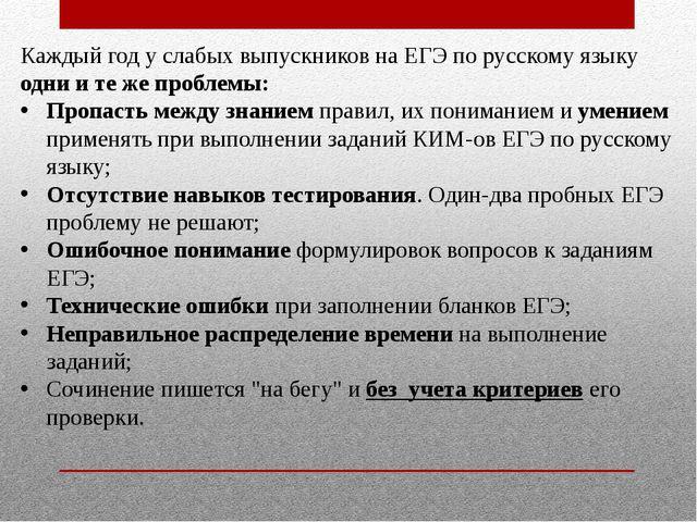 Каждый год у слабых выпускников на ЕГЭ по русскому языку одни и те же проблем...