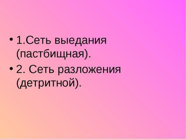 1.Сеть выедания (пастбищная). 2. Сеть разложения (детритной).