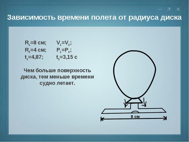 Зависимость времени полета от радиуса диска R1=8 см; V1=V2; R2=4 см; P1=P2; t...