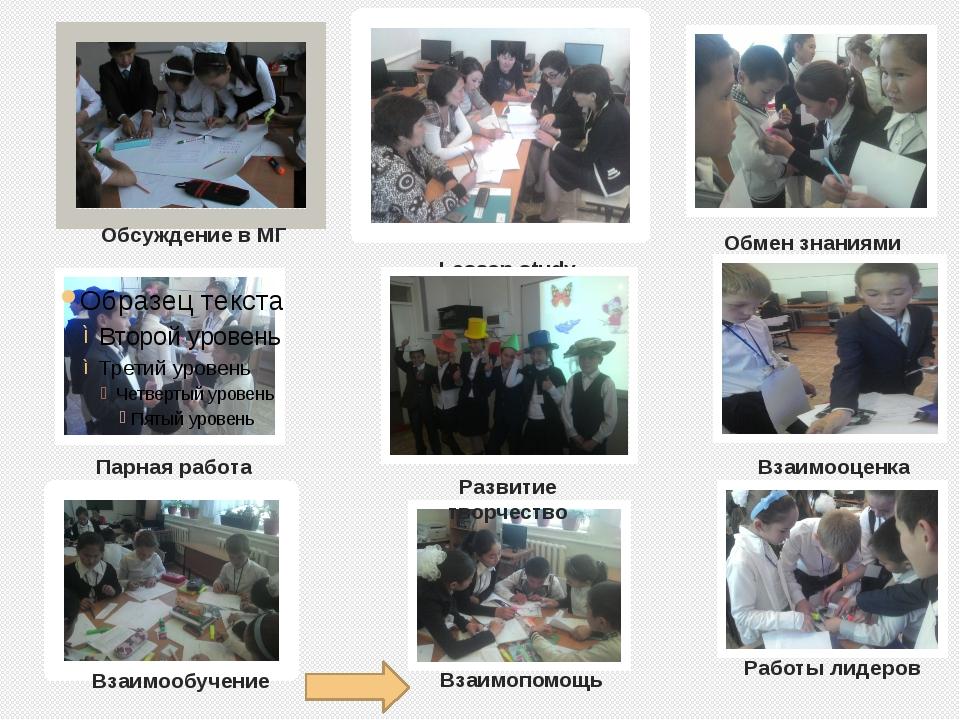 Lesson study Работы лидеров Обмен знаниями Парная работа Развитие творчество...