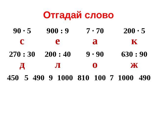 Отгадай слово 90 ∙ 5 с900 : 9 е7 ∙ 70 а200 ∙ 5 к 270 : 30 д200 : 40 л9...