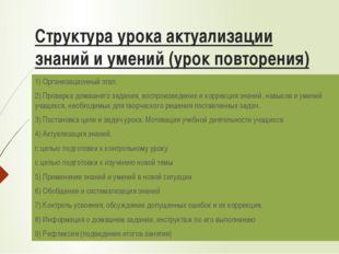 Структура урока актуализации знаний и умений (урок повторения) 1) Организацио