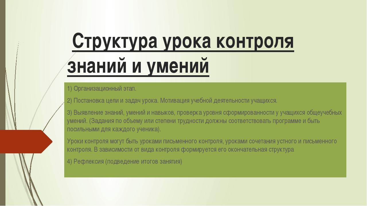 Структура урока контроля знаний и умений 1) Организационный этап. 2) Постано...