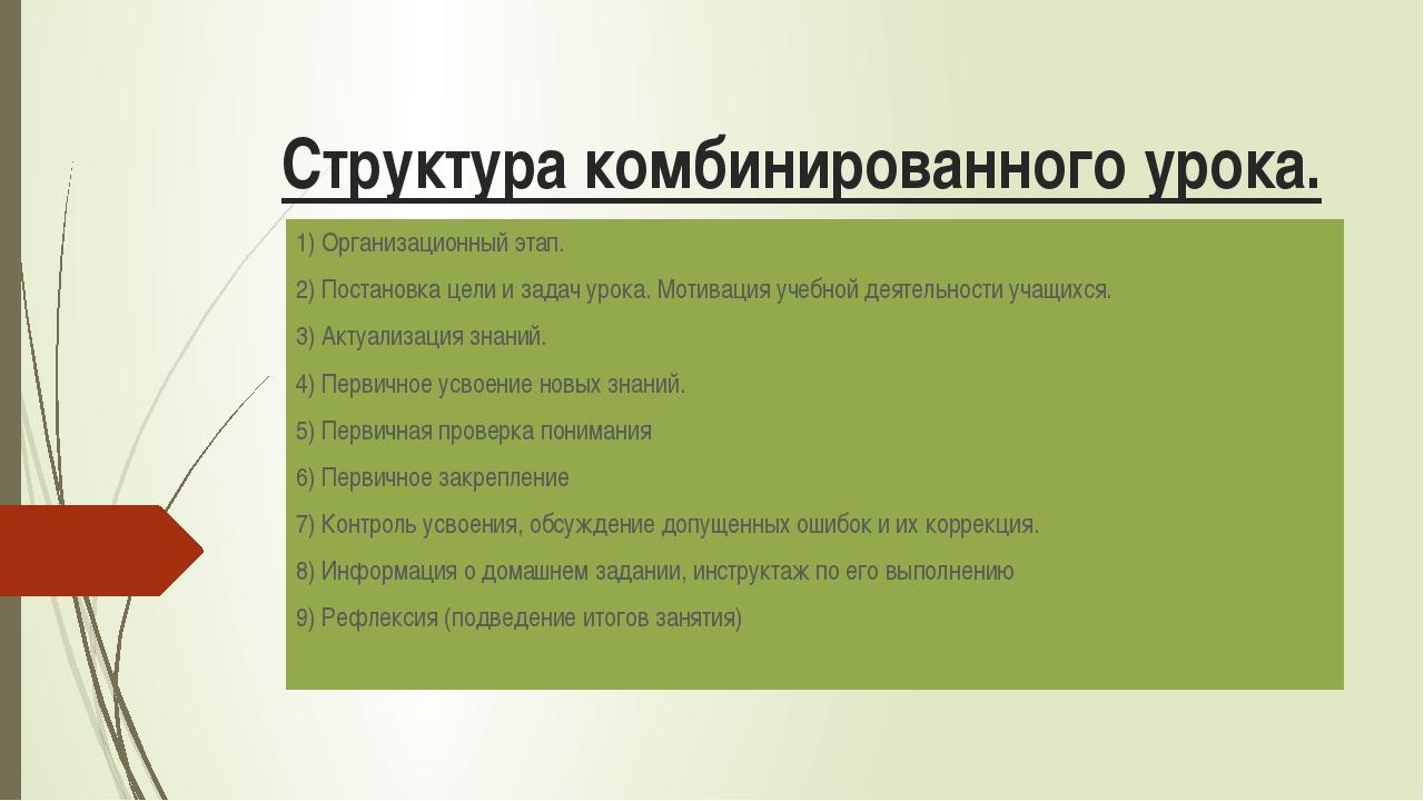 Структура комбинированного урока. 1) Организационный этап. 2) Постановка цели...