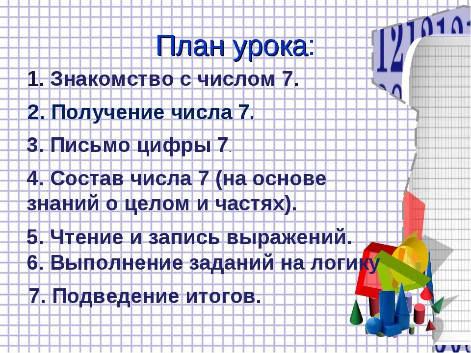 План урока: 1. Знакомство с числом 7. 2. Получение числа 7. 3. Письмо цифры 7...