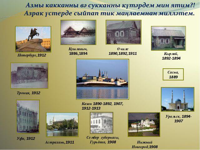 Нижний Новгород,1908 Троицк, 1912 Кушлавыч, 1886,1894 Сасна, 1889 Уральск, 18...