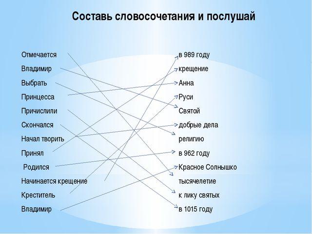 Составь словосочетания и послушай Отмечается Владимир Выбрать Принцесса Причи...