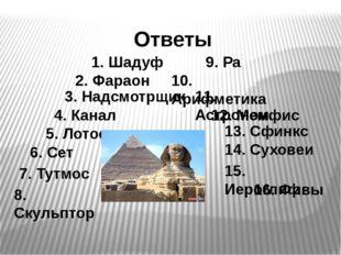 1. Шадуф Ответы 2. Фараон 3. Надсмотрщик 4. Канал 5. Лотос 6. Сет 7. Тутмос 8