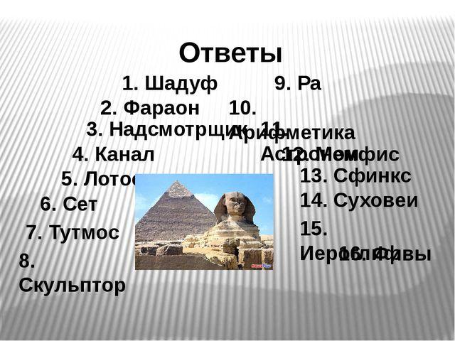 1. Шадуф Ответы 2. Фараон 3. Надсмотрщик 4. Канал 5. Лотос 6. Сет 7. Тутмос 8...