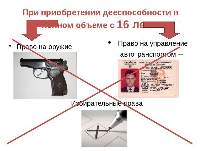 Право на оружие При приобретении дееспособности в полном объеме с 16 лет: Пра...