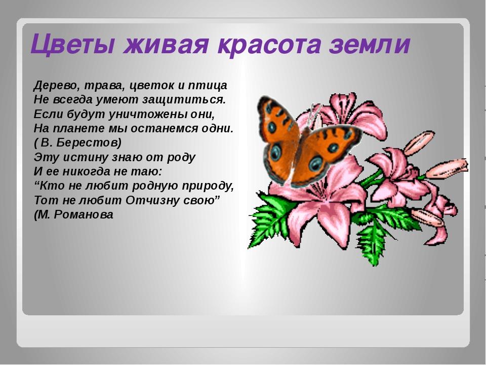 Цветы живая красота земли Дерево, трава, цветок и птица Не всегда умеют защит...