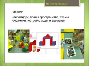 моделирование Модели (пирамидки; планы пространства, схемы сложения построек