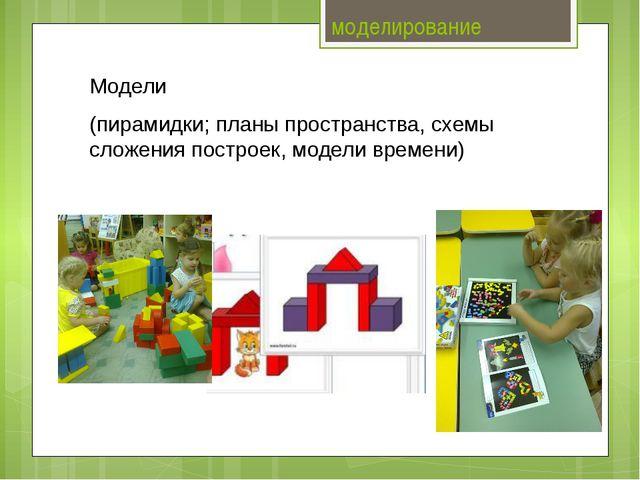 моделирование Модели (пирамидки; планы пространства, схемы сложения построек...