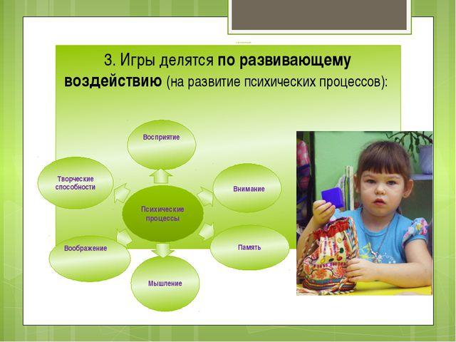 классификация 3. Игры делятся по развивающему воздействию (на развитие психич...