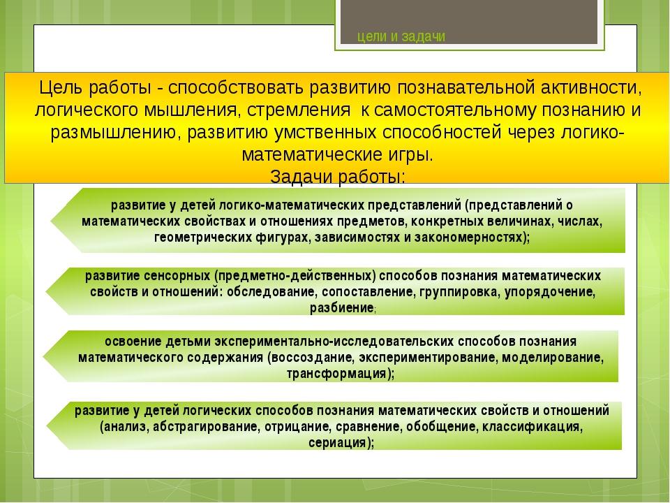 цели и задачи Цель работы- способствовать развитию познавательной активност...