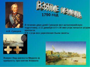 1790 год А.В. Суворов Измаил Вид крепости Медали за храбрость при взятии Изма