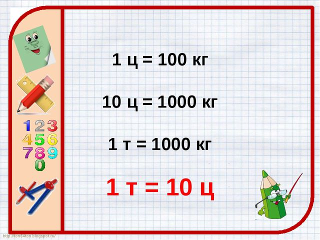 1 ц = 100 кг 10 ц = 1000 кг 1 т = 1000 кг 1 т = 10 ц http://ton64ton.blogspo...