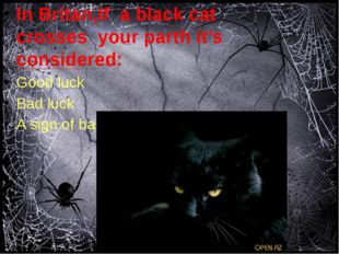 In Britan,If a black cat crosses your parth it's considered: Good luck Bad l