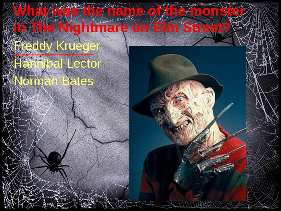 What was the name of the monster in The Nightmare on Elm Street? Freddy Krue...
