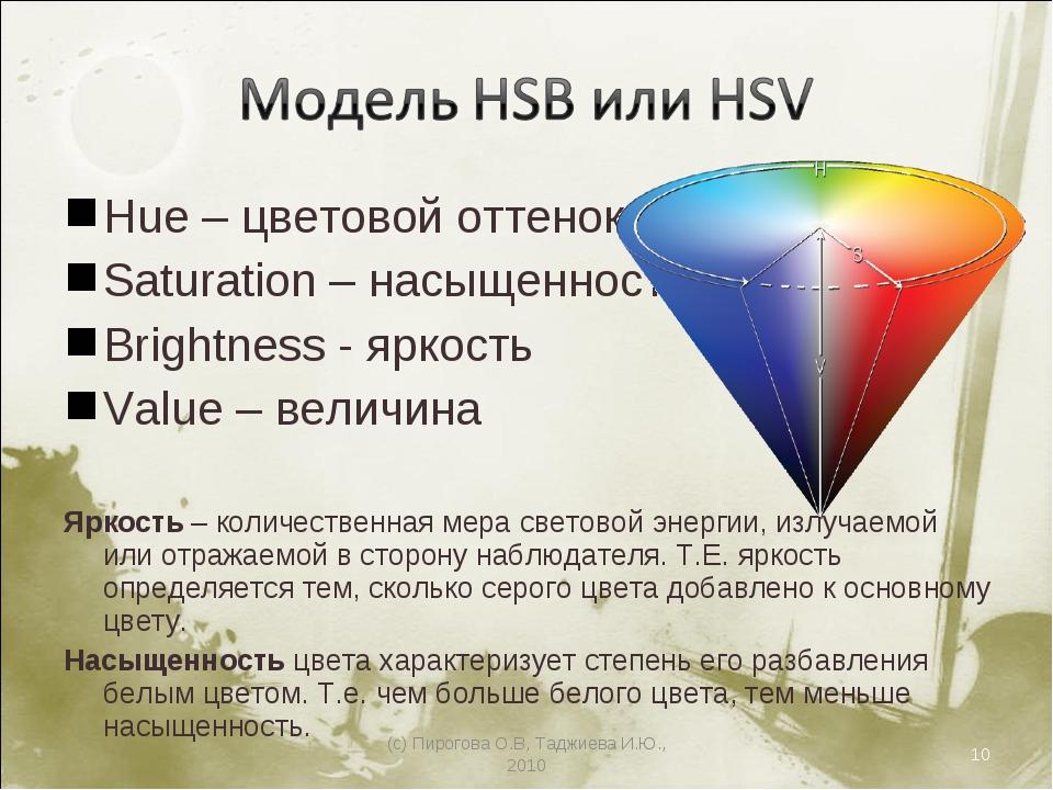 Hue – цветовой оттенок Saturation – насыщенность Brightness - яркость Value –...