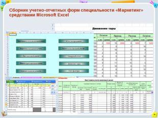 Сборник учетно-отчетных форм специальности «Маркетинг» средствами Microsoft E
