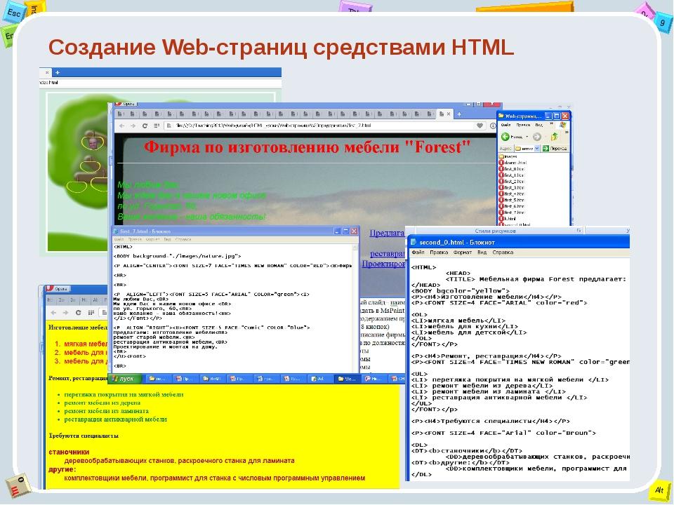 Создание Web-страниц средствами HTML 2 Tab 9 Alt Ins Esc End O Щ