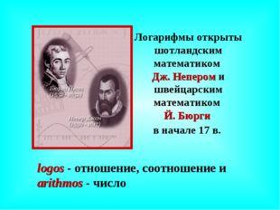 Логарифмы открыты шотландским математиком Дж. Непером и швейцарским математик