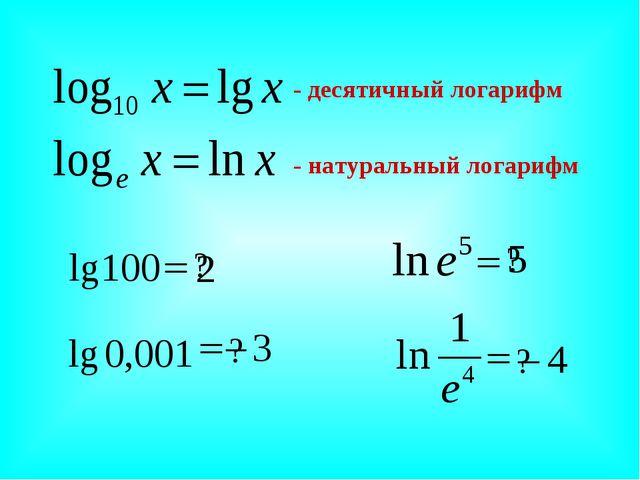 - десятичный логарифм - натуральный логарифм