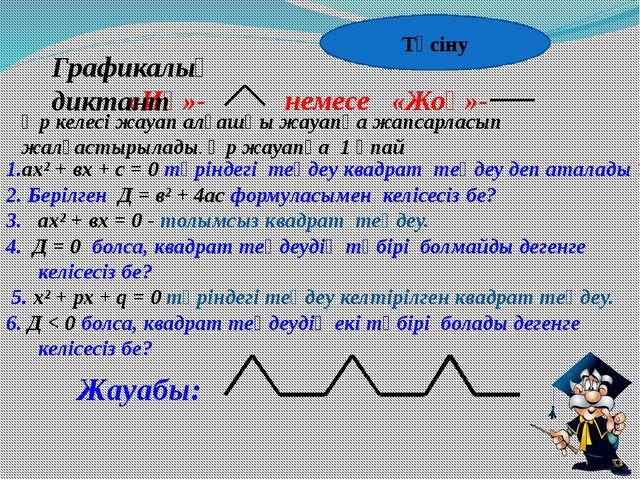 1.ах² + вх + с = 0 түріндегі теңдеу квадрат теңдеу деп аталады ? 2. Берілген...