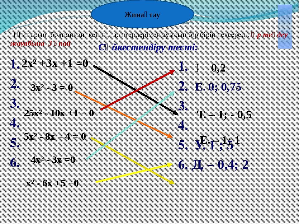 Бағалау Тест 3х² - 5х – 2 =0 теңдеуіндегі коэффициенттерді көрсет А . -5; -2;...