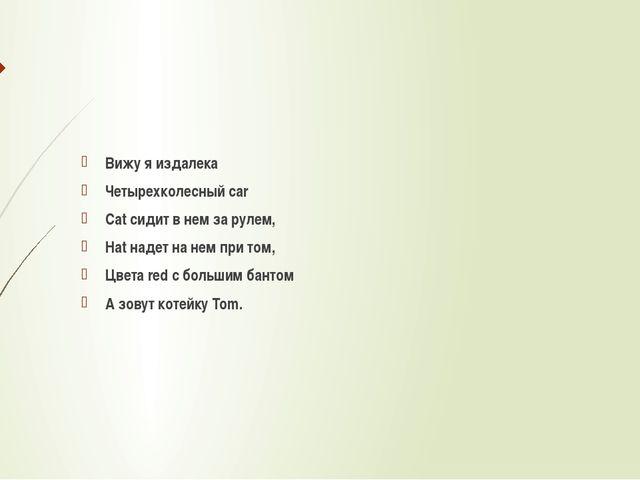 Вижу я издалека Четырехколесный car Cat сидит в нем за рулем, Hat надет на н...