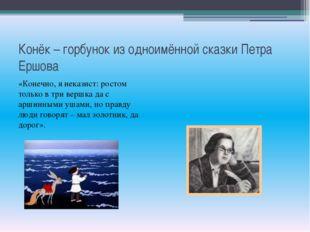 Конёк – горбунок из одноимённой сказки Петра Ершова «Конечно, я неказист: рос