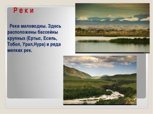 Р е к и Реки маловодны. Здесь расположены бассейны крупных (Ертыс, Есиль, То