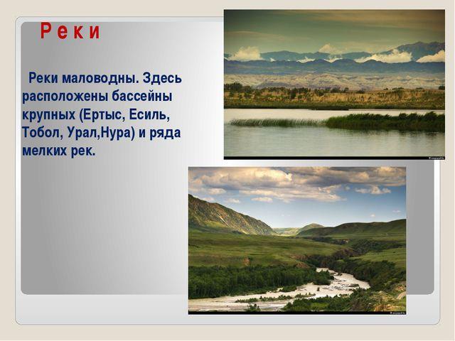 Р е к и Реки маловодны. Здесь расположены бассейны крупных (Ертыс, Есиль, То...